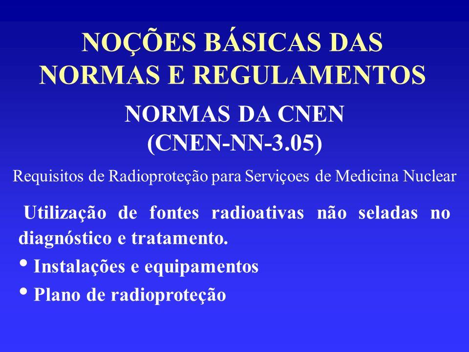 NOÇÕES BÁSICAS DAS NORMAS E REGULAMENTOS NORMAS DA CNEN (CNEN-NN-3.05) Requisitos de Radioproteção para Serviçoes de Medicina Nuclear Utilização de fo