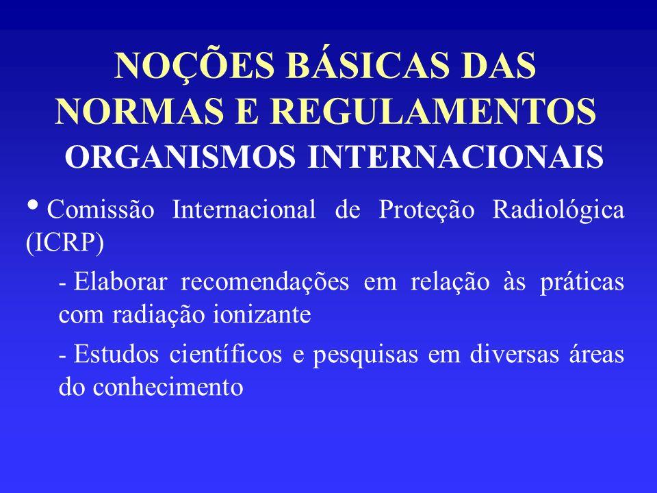 NOÇÕES BÁSICAS DAS NORMAS E REGULAMENTOS ORGANISMOS INTERNACIONAIS Comissão Internacional de Proteção Radiológica (ICRP) - Elaborar recomendações em r