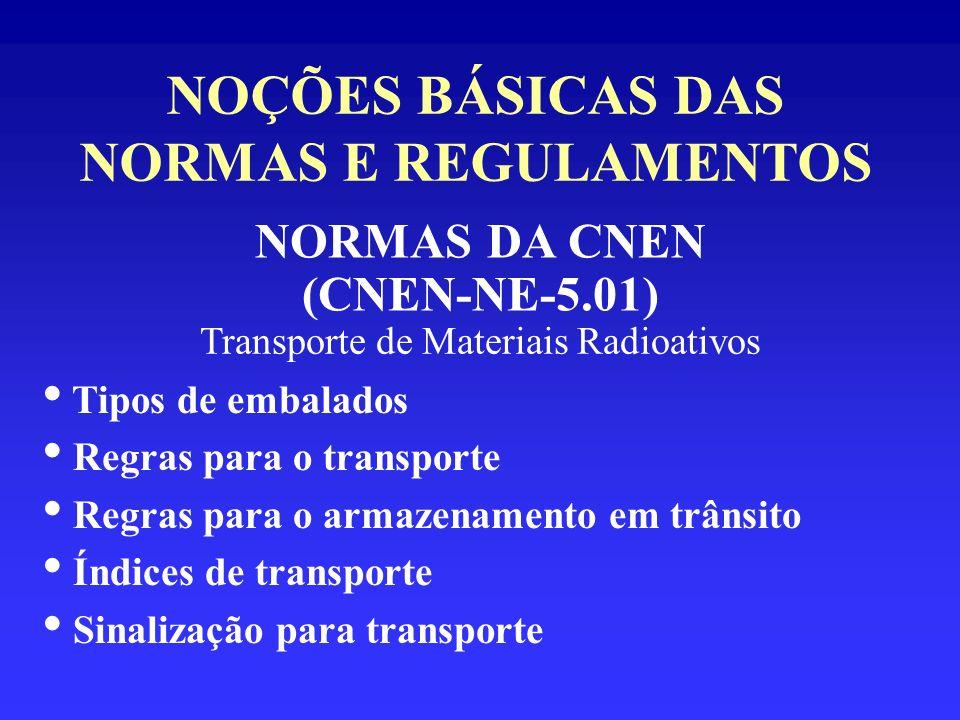 NOÇÕES BÁSICAS DAS NORMAS E REGULAMENTOS NORMAS DA CNEN (CNEN-NE-5.01) Transporte de Materiais Radioativos Tipos de embalados Regras para o transporte