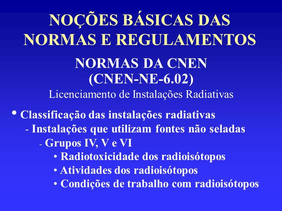 NOÇÕES BÁSICAS DAS NORMAS E REGULAMENTOS NORMAS DA CNEN (CNEN-NE-6.02) Licenciamento de Instalações Radiativas Classificação das instalações radiativa