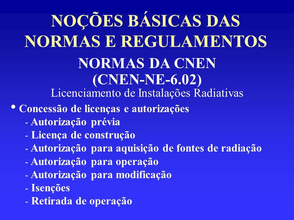 NOÇÕES BÁSICAS DAS NORMAS E REGULAMENTOS NORMAS DA CNEN (CNEN-NE-6.02) Licenciamento de Instalações Radiativas Concessão de licenças e autorizações -