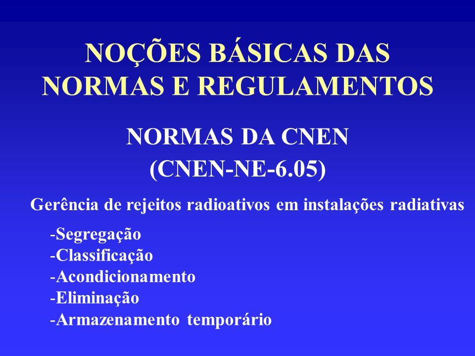 NOÇÕES BÁSICAS DAS NORMAS E REGULAMENTOS NORMAS DA CNEN (CNEN-NE-6.05) Gerência de rejeitos radioativos em instalações radiativas -Segregação -Classif