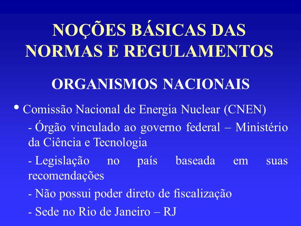 NOÇÕES BÁSICAS DAS NORMAS E REGULAMENTOS ORGANISMOS NACIONAIS Comissão Nacional de Energia Nuclear (CNEN) - Órgão vinculado ao governo federal – Minis