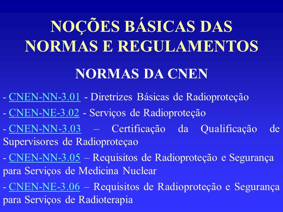 NOÇÕES BÁSICAS DAS NORMAS E REGULAMENTOS NORMAS DA CNEN - CNEN-NN-3.01 - Diretrizes Básicas de Radioproteção - CNEN-NE-3.02 - Serviços de Radioproteçã