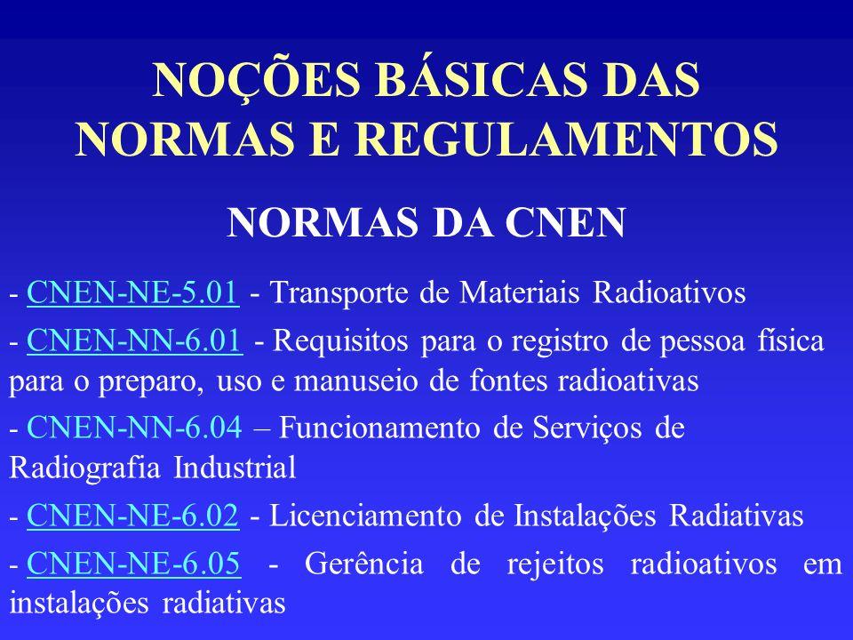 NOÇÕES BÁSICAS DAS NORMAS E REGULAMENTOS NORMAS DA CNEN - CNEN-NE-5.01 - Transporte de Materiais Radioativos - CNEN-NN-6.01 - Requisitos para o regist