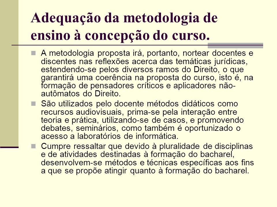 Adequação da metodologia de ensino à concepção do curso. A metodologia proposta irá, portanto, nortear docentes e discentes nas reflexões acerca das t