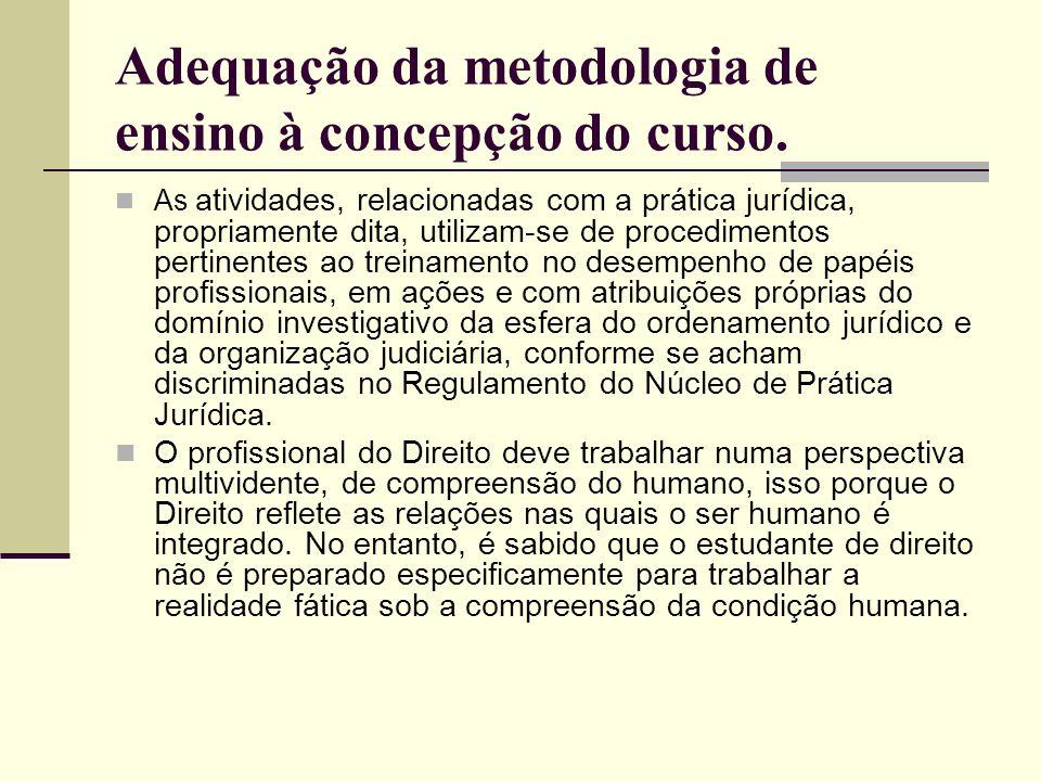 Adequação da metodologia de ensino à concepção do curso. As atividades, relacionadas com a prática jurídica, propriamente dita, utilizam-se de procedi