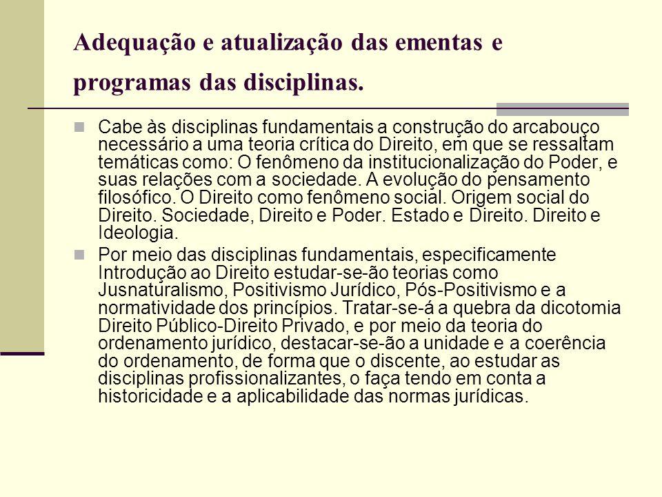 Adequação e atualização das ementas e programas das disciplinas. Cabe às disciplinas fundamentais a construção do arcabouço necessário a uma teoria cr