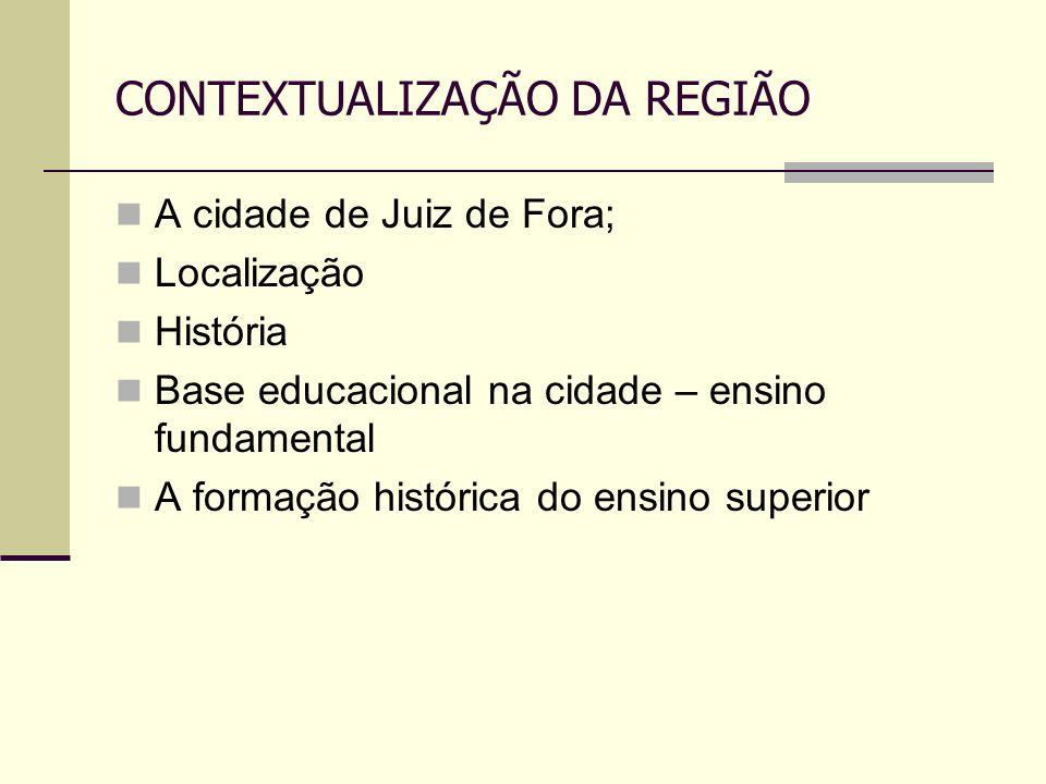 CONTEXTUALIZAÇÃO DA REGIÃO A cidade de Juiz de Fora; Localização História Base educacional na cidade – ensino fundamental A formação histórica do ensi