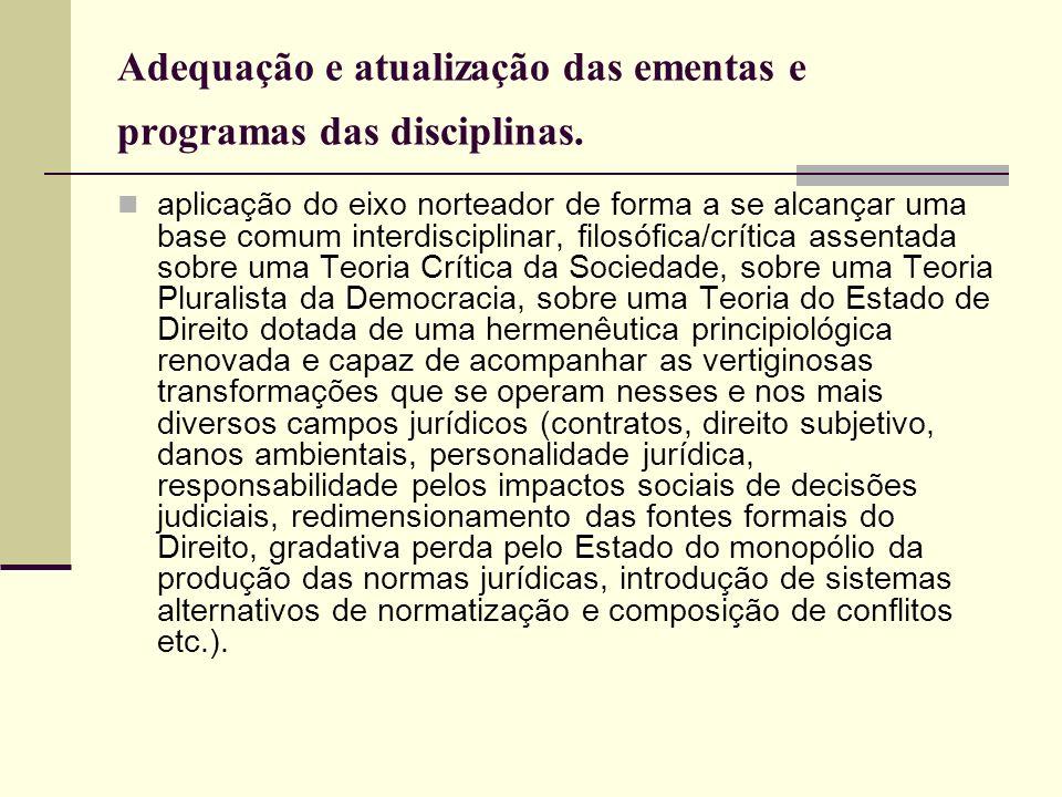 Adequação e atualização das ementas e programas das disciplinas. aplicação do eixo norteador de forma a se alcançar uma base comum interdisciplinar, f