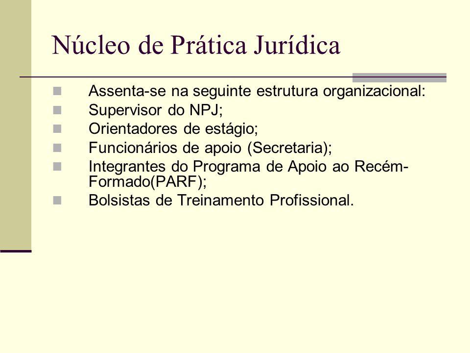 Núcleo de Prática Jurídica Assenta-se na seguinte estrutura organizacional: Supervisor do NPJ; Orientadores de estágio; Funcionários de apoio (Secreta