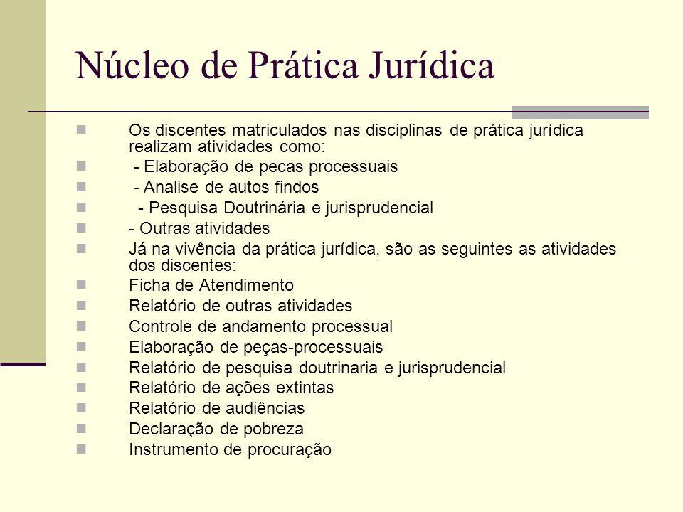Núcleo de Prática Jurídica Os discentes matriculados nas disciplinas de prática jurídica realizam atividades como: - Elaboração de pecas processuais -