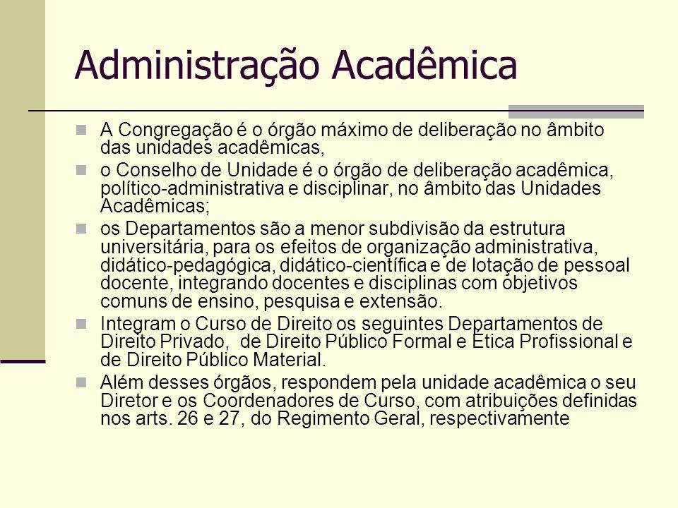 Administração Acadêmica A Congregação é o órgão máximo de deliberação no âmbito das unidades acadêmicas, o Conselho de Unidade é o órgão de deliberaçã