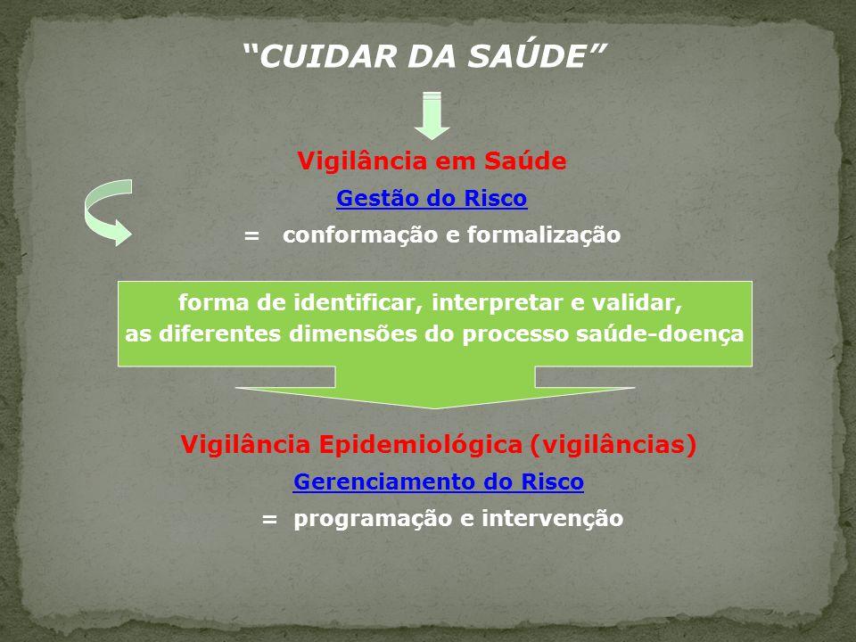 Vigilância em Saúde Gestão do Risco = conformação e formalização forma de identificar, interpretar e validar, as diferentes dimensões do processo saúd