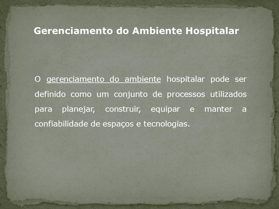 O gerenciamento do ambiente hospitalar pode ser definido como um conjunto de processos utilizados para planejar, construir, equipar e manter a confiab