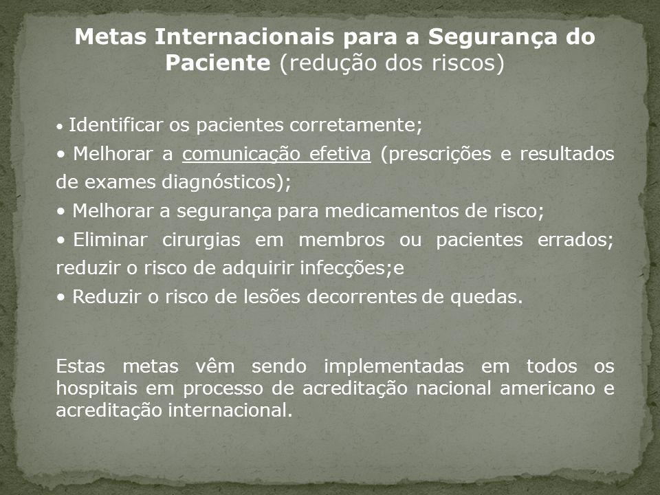 Metas Internacionais para a Segurança do Paciente (redução dos riscos) Identificar os pacientes corretamente; Melhorar a comunicação efetiva (prescriç