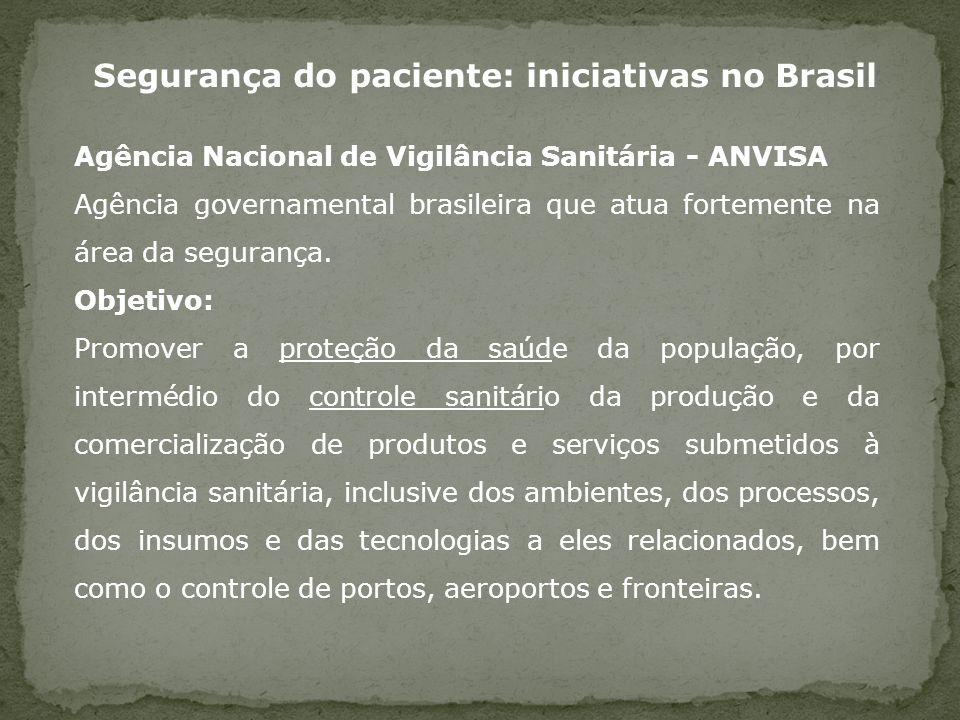 Segurança do paciente: iniciativas no Brasil Agência Nacional de Vigilância Sanitária - ANVISA Agência governamental brasileira que atua fortemente na
