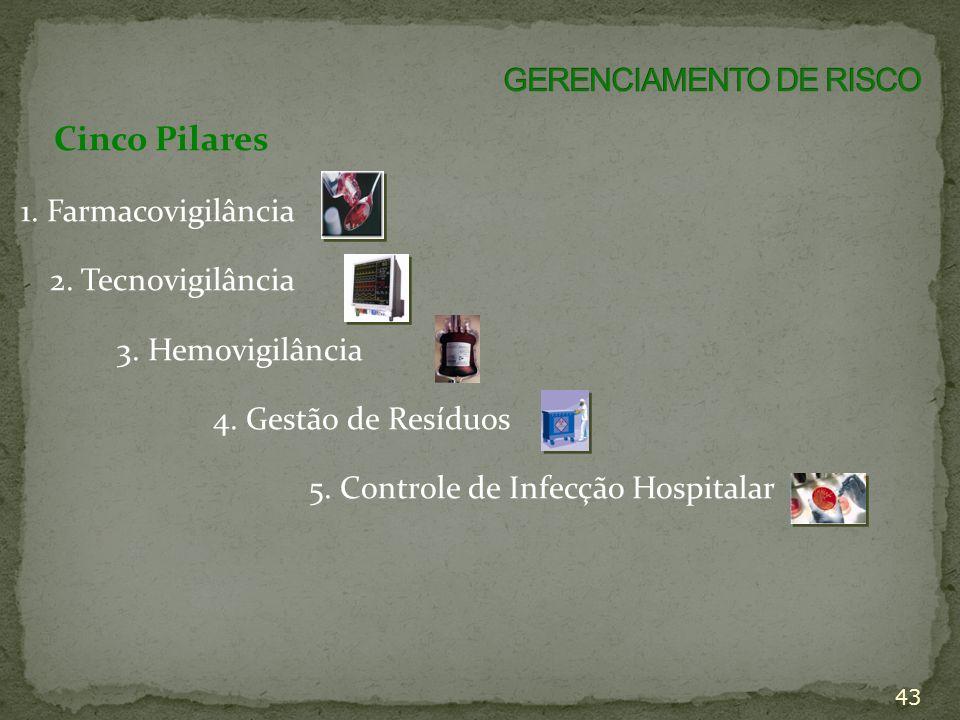 43 Cinco Pilares 1. Farmacovigilância 2. Tecnovigilância 3. Hemovigilância 4. Gestão de Resíduos 5. Controle de Infecção Hospitalar