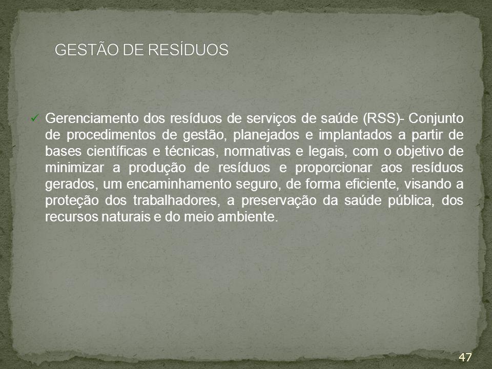 47 Gerenciamento dos resíduos de serviços de saúde (RSS)- Conjunto de procedimentos de gestão, planejados e implantados a partir de bases científicas