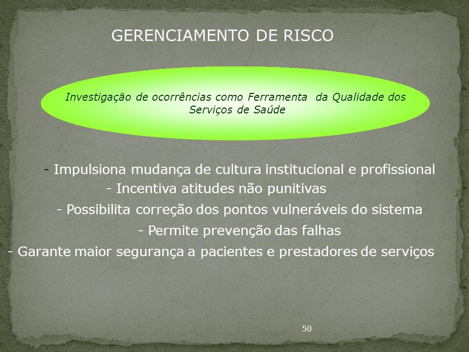 50 - Impulsiona mudança de cultura institucional e profissional - Incentiva atitudes não punitivas - Possibilita correção dos pontos vulneráveis do si