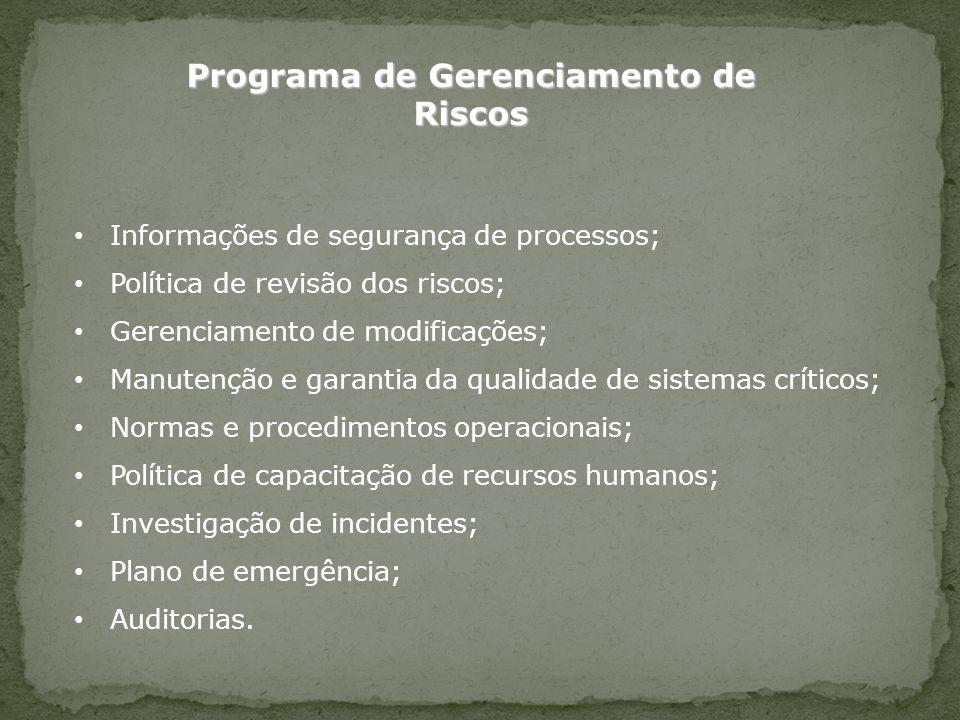 Informações de segurança de processos; Política de revisão dos riscos; Gerenciamento de modificações; Manutenção e garantia da qualidade de sistemas c