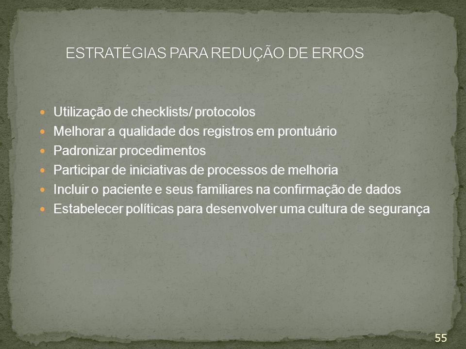 55 Utilização de checklists/ protocolos Melhorar a qualidade dos registros em prontuário Padronizar procedimentos Participar de iniciativas de process