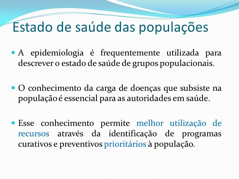Estado de saúde das populações A epidemiologia é frequentemente utilizada para descrever o estado de saúde de grupos populacionais. O conhecimento da