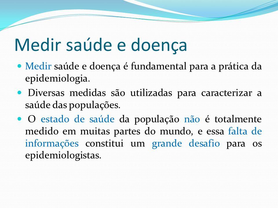 Medir saúde e doença Medir saúde e doença é fundamental para a prática da epidemiologia. Diversas medidas são utilizadas para caracterizar a saúde das