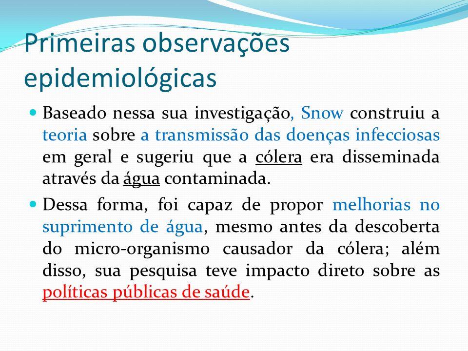 Primeiras observações epidemiológicas Baseado nessa sua investigação, Snow construiu a teoria sobre a transmissão das doenças infecciosas em geral e s
