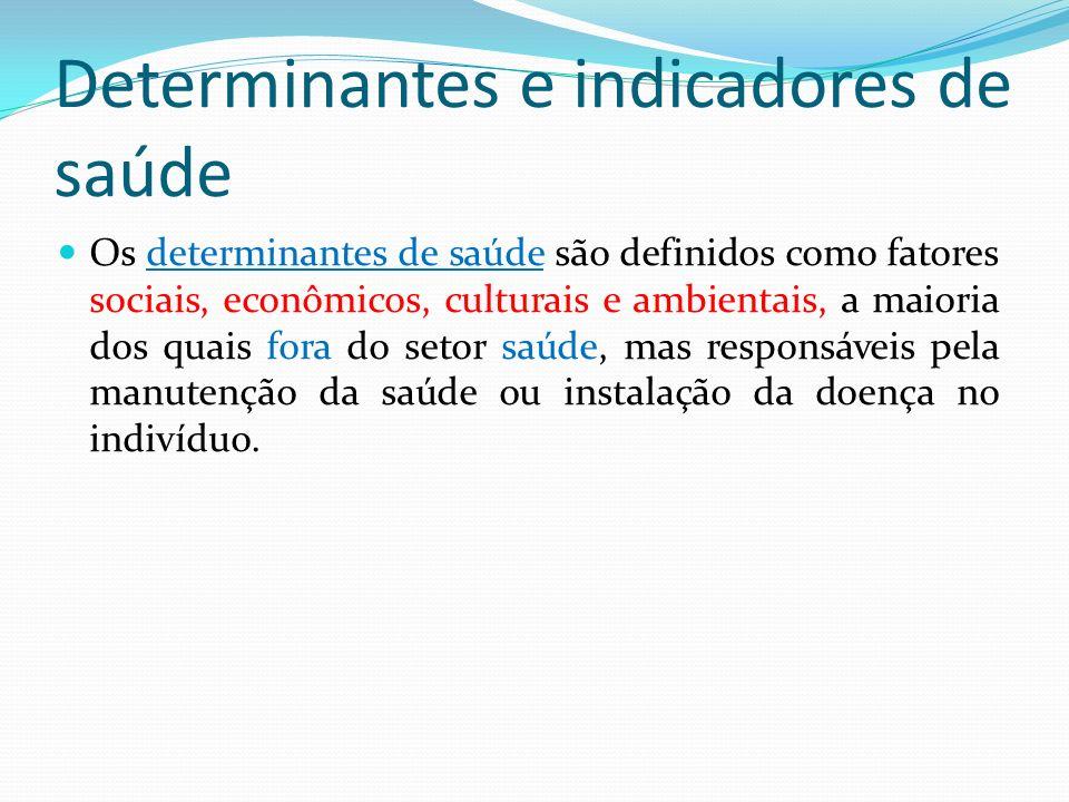 Determinantes e indicadores de saúde Os determinantes de saúde são definidos como fatores sociais, econômicos, culturais e ambientais, a maioria dos q