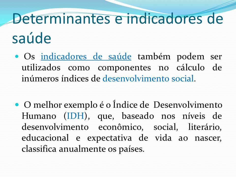 Determinantes e indicadores de saúde Os indicadores de saúde também podem ser utilizados como componentes no cálculo de inúmeros índices de desenvolvi