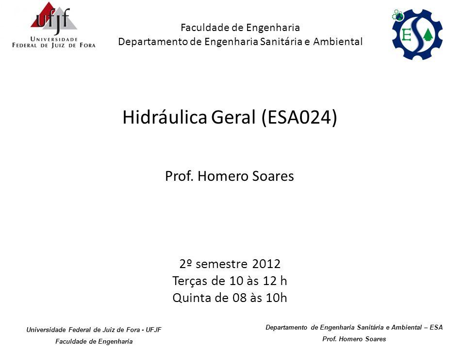 Hidráulica Geral (ESA024) Prof. Homero Soares 2º semestre 2012 Terças de 10 às 12 h Quinta de 08 às 10h Faculdade de Engenharia Departamento de Engenh