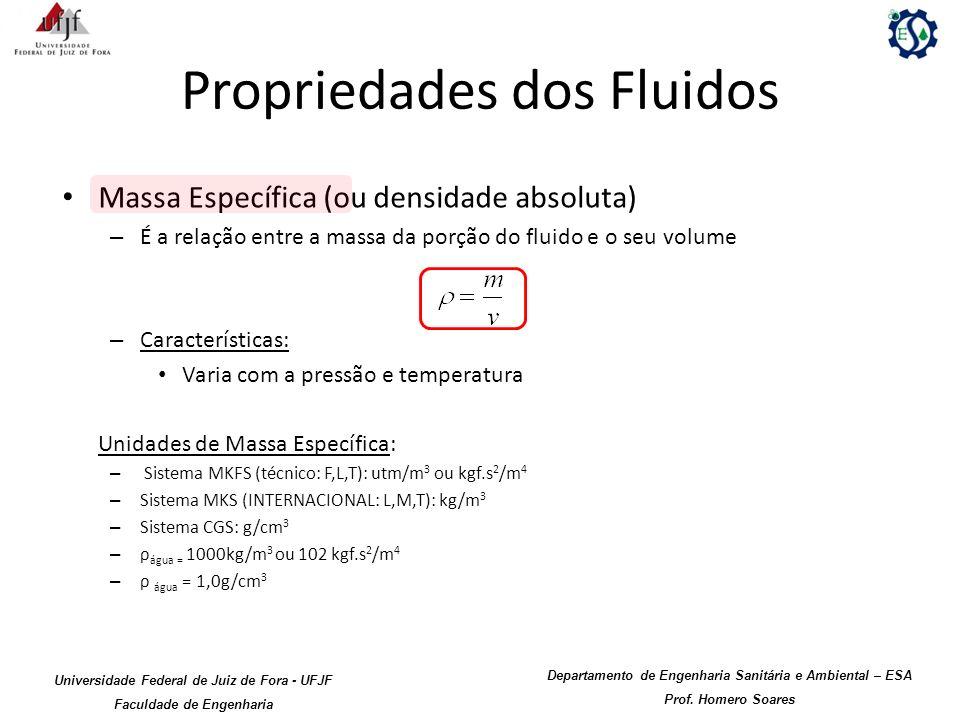 Propriedades dos Fluidos Massa Específica (ou densidade absoluta) – É a relação entre a massa da porção do fluido e o seu volume – Características: Va