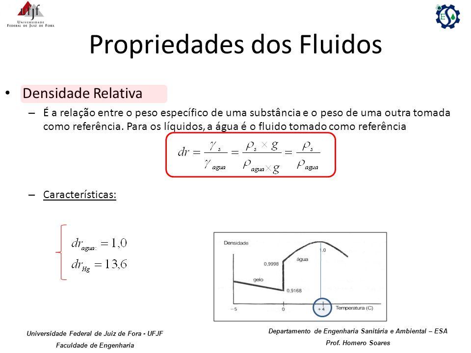 Propriedades dos Fluidos Densidade Relativa – É a relação entre o peso específico de uma substância e o peso de uma outra tomada como referência. Para