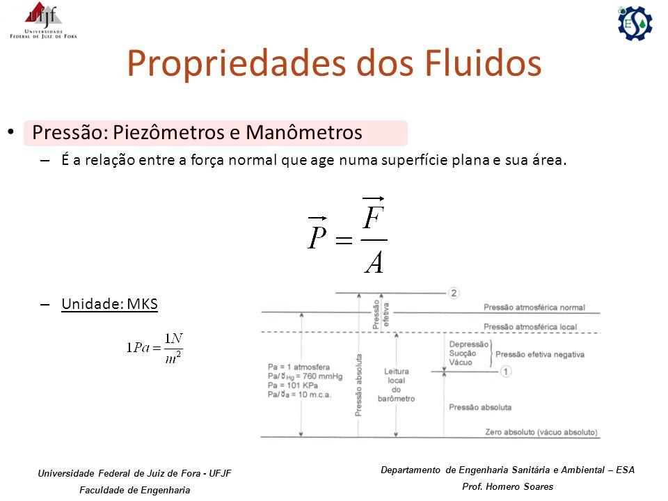 Propriedades dos Fluidos Pressão: Piezômetros e Manômetros – É a relação entre a força normal que age numa superfície plana e sua área. – Unidade: MKS