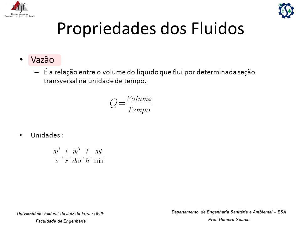 Propriedades dos Fluidos Vazão – É a relação entre o volume do líquido que flui por determinada seção transversal na unidade de tempo. Unidades : Univ