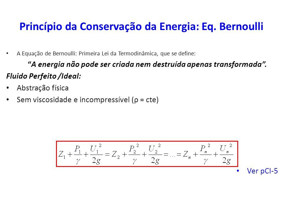 Princípio da Conservação da Energia: Eq. Bernoulli A Equação de Bernoulli: Primeira Lei da Termodinâmica, que se define: A energia não pode ser criada