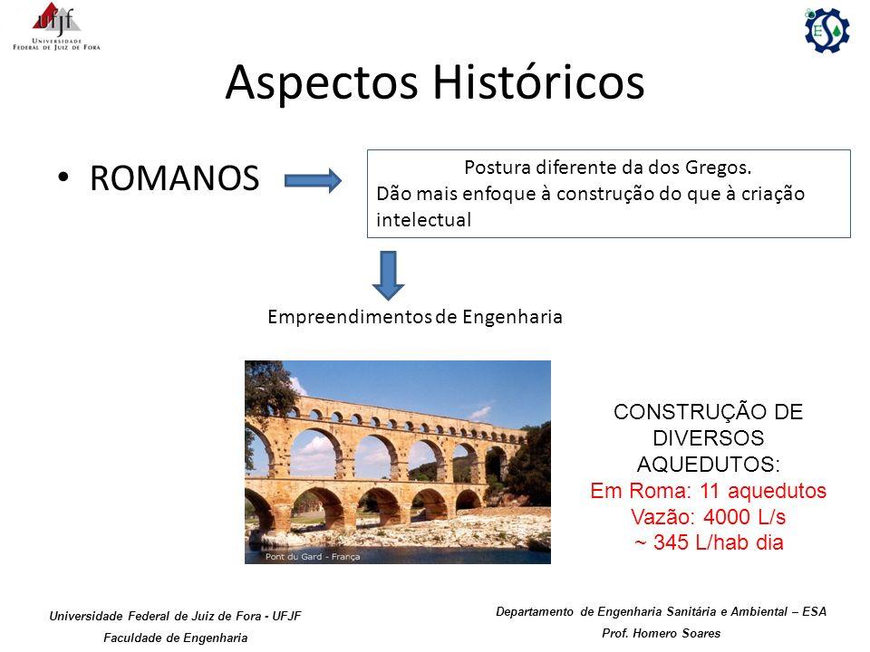 Aspectos Históricos ROMANOS Postura diferente da dos Gregos. Dão mais enfoque à construção do que à criação intelectual Empreendimentos de Engenharia