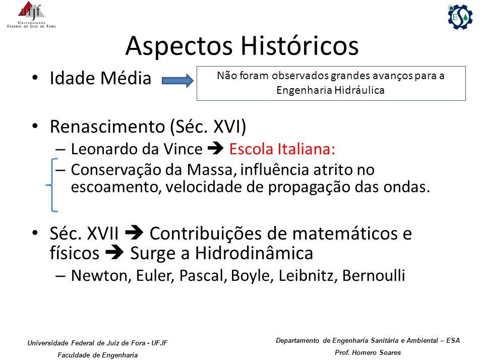 Aspectos Históricos Idade Média Renascimento (Séc. XVI) – Leonardo da Vince Escola Italiana: – Conservação da Massa, influência atrito no escoamento,