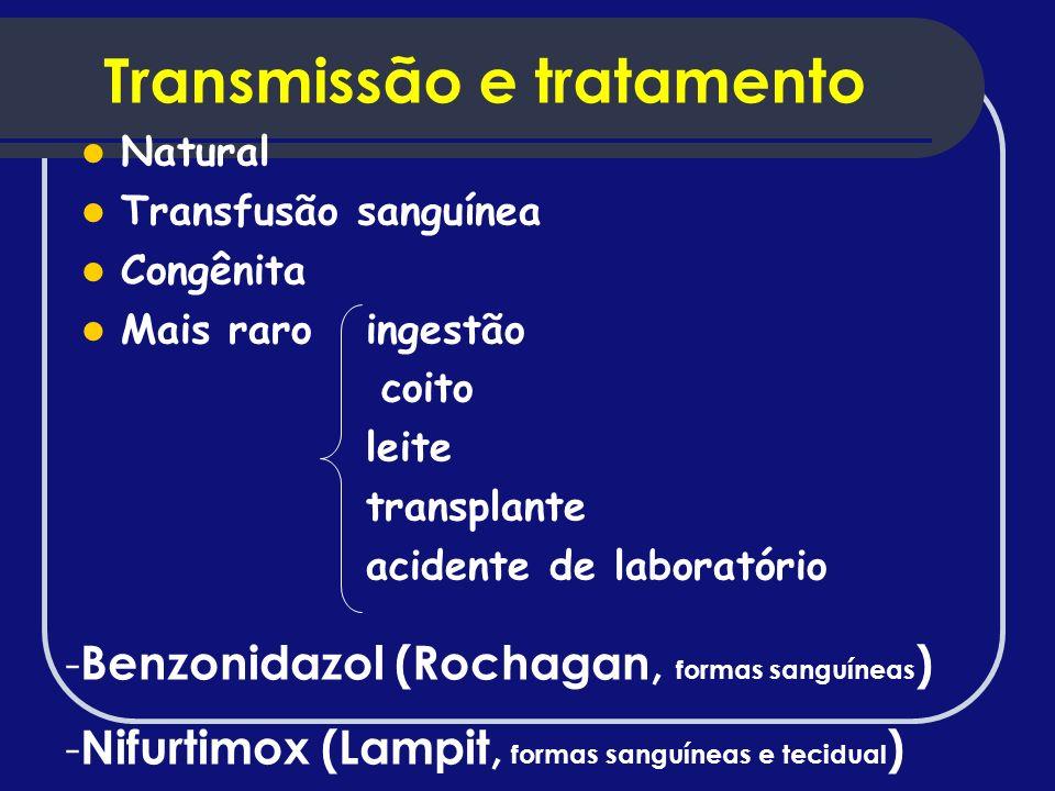 Transmissão e tratamento Natural Transfusão sanguínea Congênita Mais raro ingestão coito leite transplante acidente de laboratório - Benzonidazol (Roc