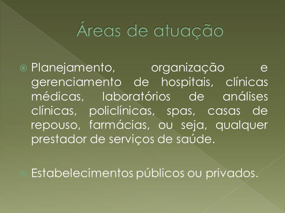 Planejamento, organização e gerenciamento de hospitais, clínicas médicas, laboratórios de análises clínicas, policlínicas, spas, casas de repouso, far