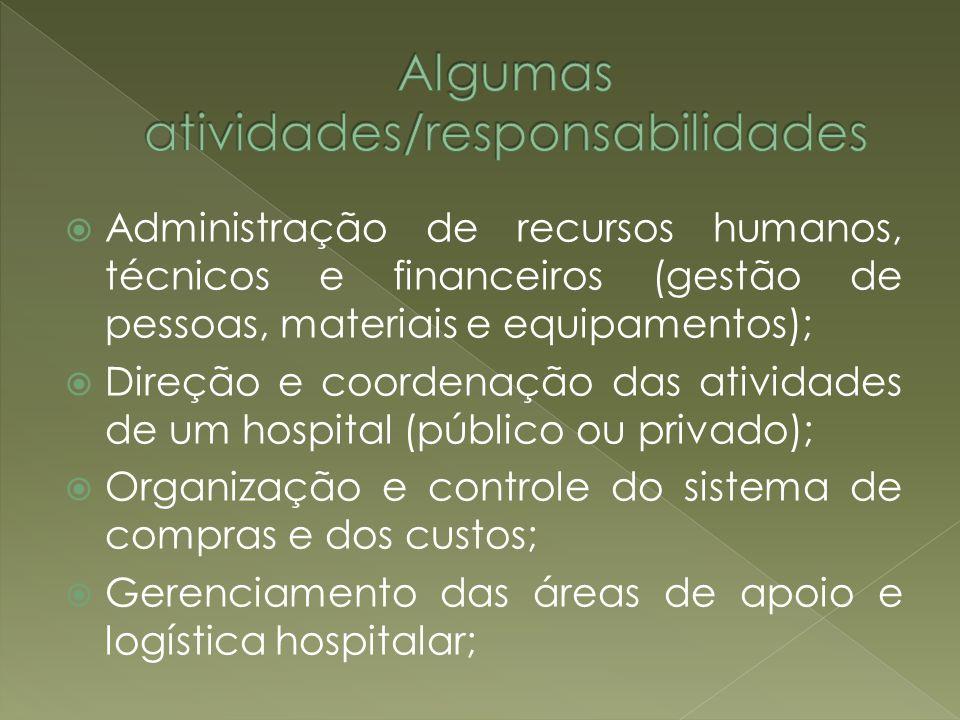 Administração de recursos humanos, técnicos e financeiros (gestão de pessoas, materiais e equipamentos); Direção e coordenação das atividades de um ho
