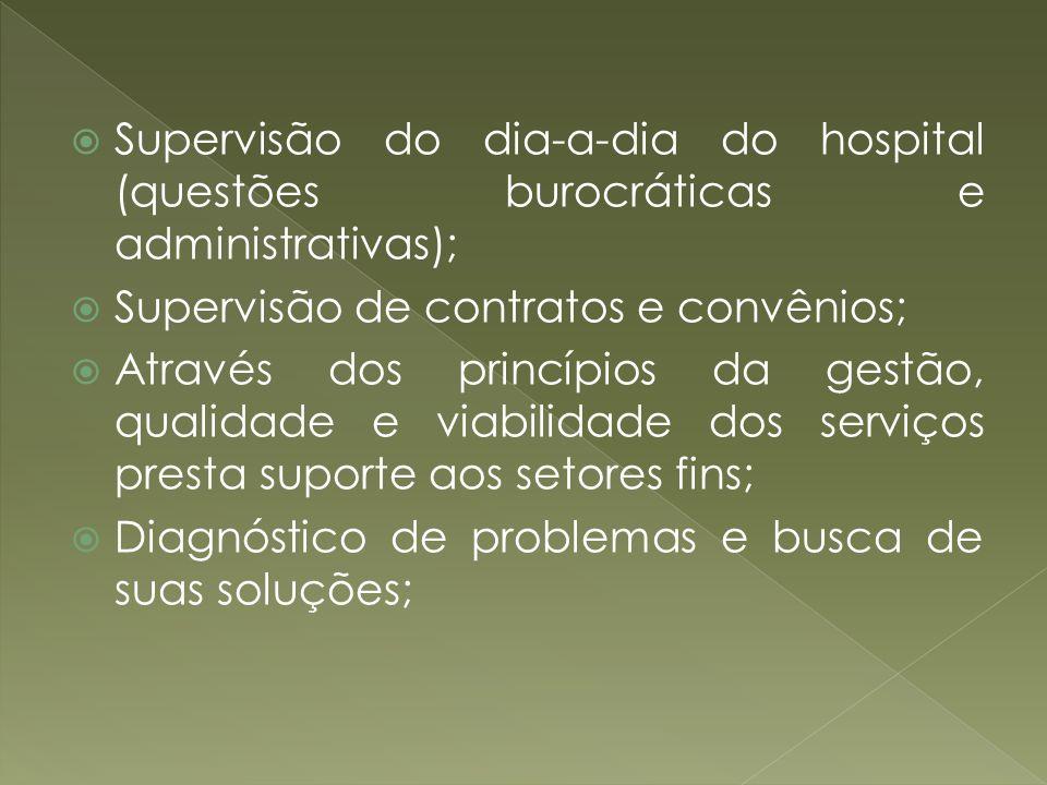 Supervisão do dia-a-dia do hospital (questões burocráticas e administrativas); Supervisão de contratos e convênios; Através dos princípios da gestão,
