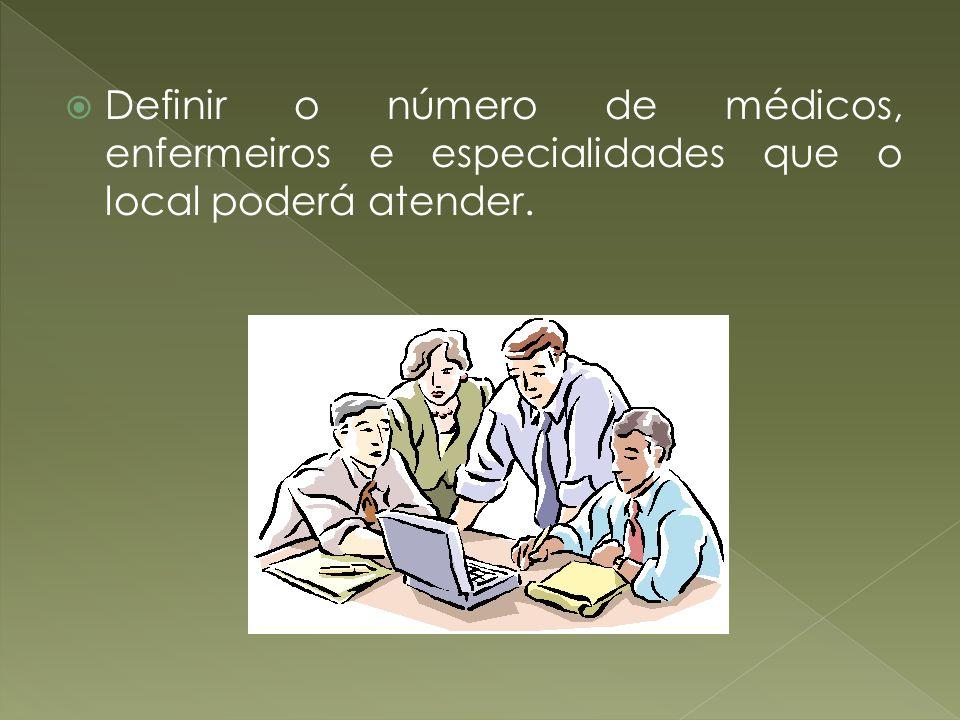 Definir o número de médicos, enfermeiros e especialidades que o local poderá atender.