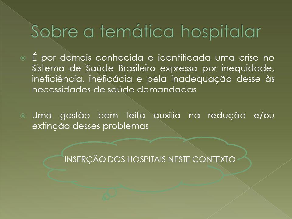 É por demais conhecida e identificada uma crise no Sistema de Saúde Brasileiro expressa por inequidade, ineficiência, ineficácia e pela inadequação de
