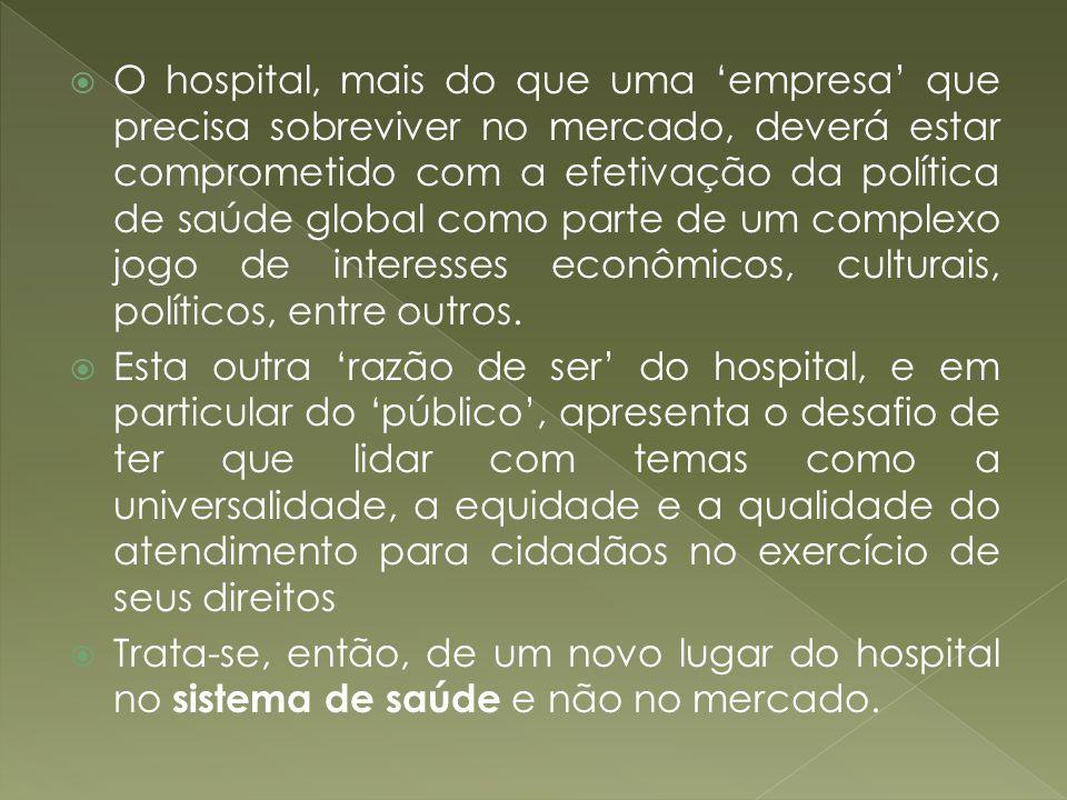 O hospital, mais do que uma empresa que precisa sobreviver no mercado, deverá estar comprometido com a efetivação da política de saúde global como par