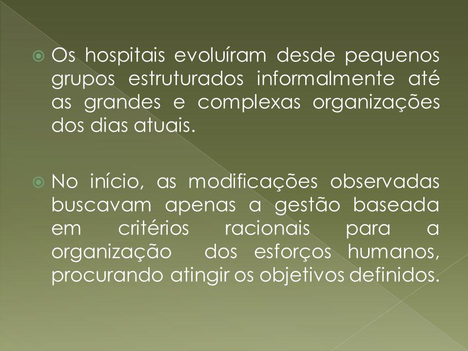 Os hospitais evoluíram desde pequenos grupos estruturados informalmente até as grandes e complexas organizações dos dias atuais. No início, as modific