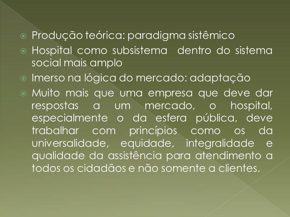 Produção teórica: paradigma sistêmico Hospital como subsistema dentro do sistema social mais amplo Imerso na lógica do mercado: adaptação Muito mais q
