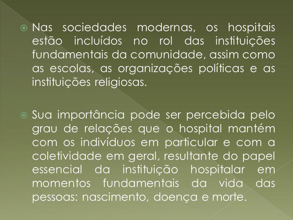 Nas sociedades modernas, os hospitais estão incluídos no rol das instituições fundamentais da comunidade, assim como as escolas, as organizações polít