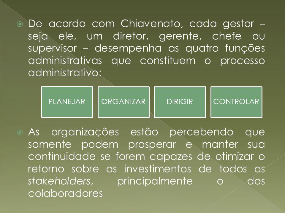 De acordo com Chiavenato, cada gestor – seja ele, um diretor, gerente, chefe ou supervisor – desempenha as quatro funções administrativas que constitu